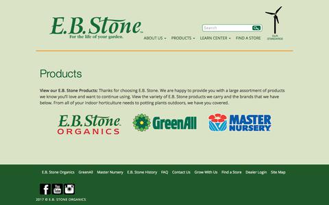 Screenshot of Products Page ebstone.org - Our Products - E.B. Stone Products E.B. Stone Organics - captured July 7, 2017