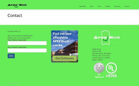 Screenshot of Contact Page apexblock.com - Contact – Apex Block - captured Oct. 7, 2017