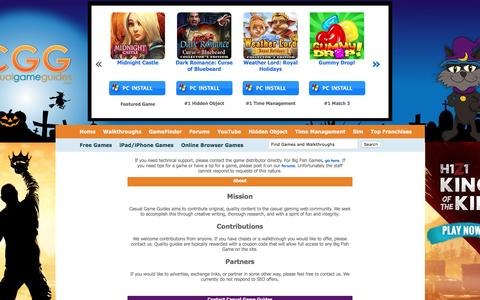 Screenshot of About Page Contact Page casualgameguides.com - Waltkthroughs, Cheats and Reviews at Casual Game Guides - captured Oct. 27, 2016