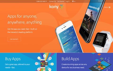 Screenshot of Home Page kony.com - Enterprise Mobile, Cross Platform Application Development | Kony - captured Aug. 1, 2017