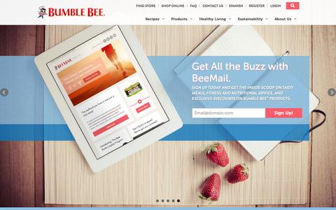 Screenshot of Home Page bumblebee.com - Tuna Fish and Healthy Seafood Recipes - Bumble Bee - captured Jan. 21, 2016