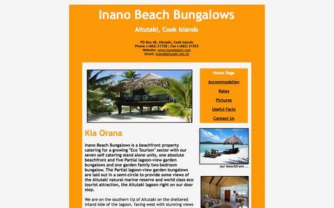 Screenshot of Home Page inanobeach.com - Inano Beach Bungalows, Aitutaki, Cook Islands - captured Oct. 6, 2014