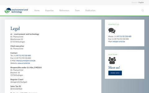 Screenshot of Terms Page et-ertel.de - Legal » ET Ertel environment and technology - captured Nov. 16, 2016