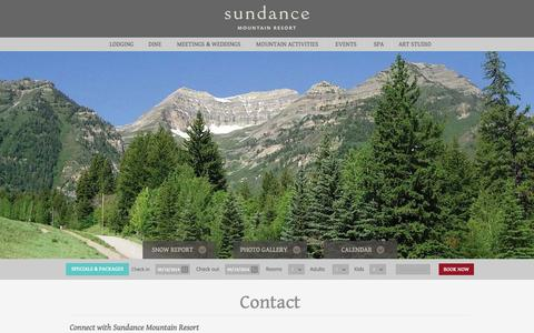 Screenshot of Contact Page sundanceresort.com - Sundance Mountain Resort | Contact | Sundance, Utah - captured Sept. 19, 2014