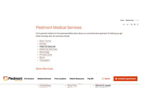 Screenshot of Services Page piedmont.org - Medical Care | Piedmont Healthcare - captured Nov. 2, 2019