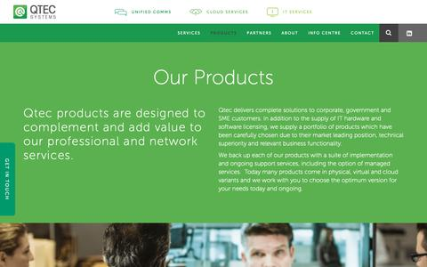 Screenshot of Products Page qtec.com.au - Business Software & IT Products | Qtec Systems - captured Sept. 28, 2018