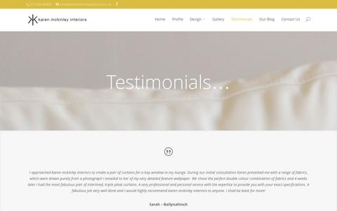Screenshot of Testimonials Page karenmckinleyinteriors.co.uk - Testimonials | karen mckinley interiors - captured Oct. 29, 2014