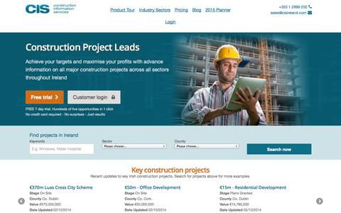 Screenshot of Home Page cisireland.com - Construction Projects Ireland | Building Project Leads | CIS Ireland - captured Oct. 3, 2014