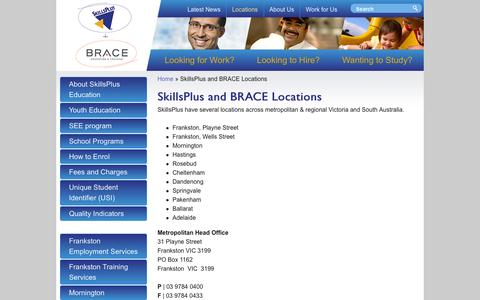 Screenshot of Contact Page Locations Page skillsplus.com.au - SkillsPlus and BRACE Locations | SkillsPlus - captured Feb. 22, 2016