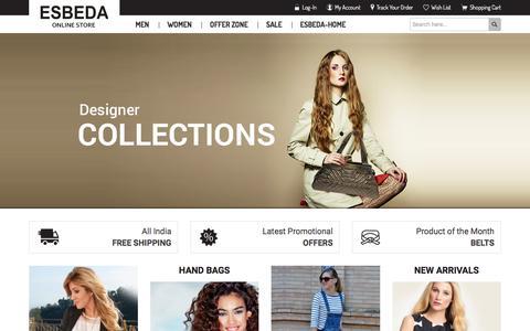 Screenshot of Home Page esbeda.com - Buy online sling bags,designer bag,clutches,Wallet,Esbeda Wallet  from official site http://www.esbeda.com - Esbeda - captured Jan. 20, 2016