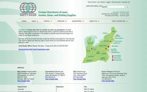 Screenshot of Contact Page arett.com - Arett Sales - Premier Distributor of Lawn, Garden, Home, and Holiday Supplies | 800 257-8220 - captured Feb. 6, 2016