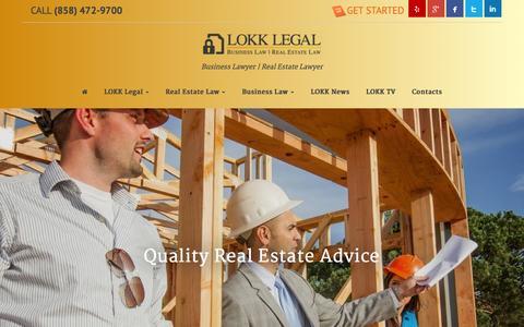 Screenshot of Home Page lokklegal.com - LOKK LEGAL - Business Law | Real Estate Law - captured Dec. 6, 2015