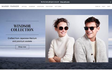 Screenshot of Home Page warbyparker.com - Warby Parker - captured Dec. 9, 2015
