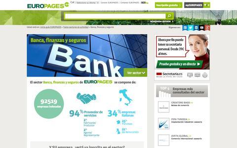Screenshot of europages.es - Banca, finanzas y seguros , todos los proveedores para España y Europa de EUROPAGES - captured Sept. 12, 2015