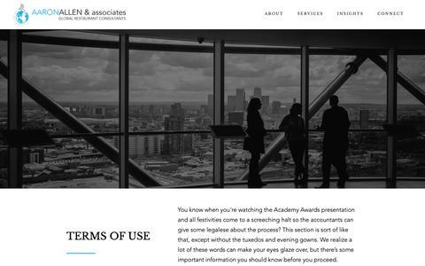 Screenshot of Terms Page aaronallen.com - Aaron Allen & Associates Terms of Use Policy: Read Here - captured Oct. 2, 2018