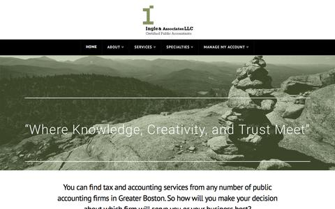 Screenshot of Home Page ingle-cpa.com - Ingle CPA   Where Knowledge, Creativity, and Trust Meet - captured Oct. 22, 2016