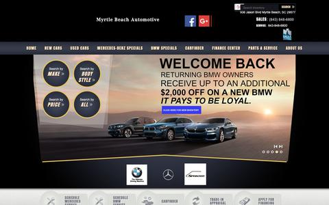 Screenshot of Home Page myrtlebeachautomotive.com - Myrtle Beach Automotive | New BMW, Mercedes-Benz dealership in Myrtle Beach, SC 29577 - captured Oct. 18, 2018