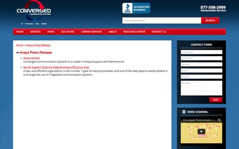 Screenshot of Press Page convergedsystems.com - Avaya Press Release - captured Feb. 23, 2016