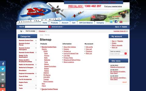 Screenshot of Site Map Page sikhobbies.com.au - Sitemap - Sik Hobbies Perth Hobby Shop - captured Oct. 26, 2014