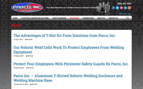 Screenshot of Press Page parco-inc.com - All Posts Archives - Parco, Inc. | T-Slotted Aluminum - captured July 15, 2018