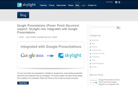 Screenshot of Blog skylightit.com - Skylight blog for business management and product news - captured Oct. 4, 2014