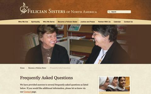 Screenshot of FAQ Page feliciansistersna.org - Frequently Asked Questions   Felician Sisters - captured Oct. 5, 2014