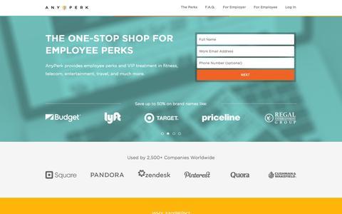 Screenshot of Home Page anyperk.com - Employee Perks, Benefits, and Discounts | AnyPerk - captured Sept. 13, 2014
