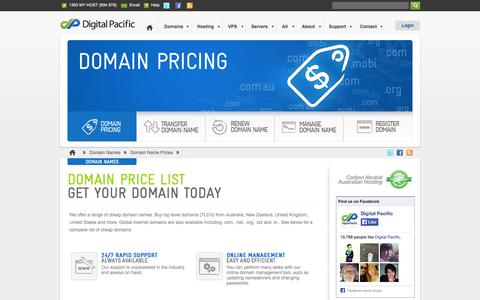 Screenshot of Pricing Page digitalpacific.com.au - Cheap Domains | Domain Names Australia | Digital Pacific - captured Sept. 23, 2014