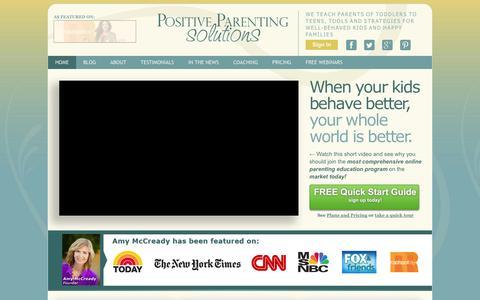 Screenshot of Home Page positiveparentingsolutions.com - Positive Parenting Solutions - captured Oct. 10, 2014