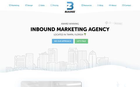 Screenshot of Home Page bluleadz.com - Tampa Inbound Marketing Agency | Bluleadz - captured June 14, 2018
