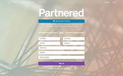 Screenshot of Signup Page partnered.com - Partnered - captured Oct. 28, 2014
