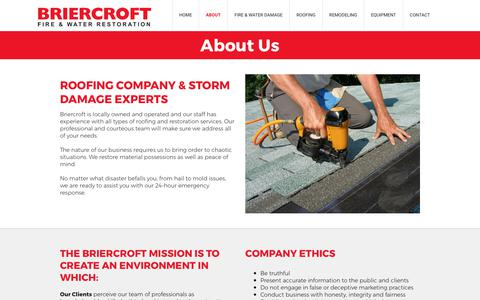 Screenshot of About Page briercroft.com - Briercroft Fire & Water Restoration | Roofing Contractor in Abilene, Sweetwater, Eastland, & Cisco, TX - captured Oct. 11, 2017