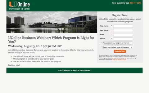 Screenshot of Landing Page miami.edu - University of Miami   UOnline - captured April 3, 2017