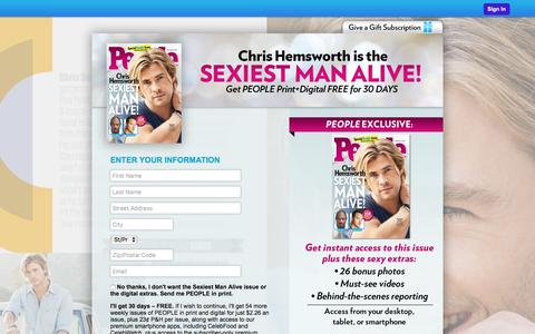 Screenshot of Landing Page people.com - Special Offer from PEOPLE Magazine - captured Oct. 5, 2016