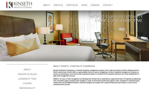 Screenshot of About Page kinseth.com - Kinseth Hospitality Companies About - captured Oct. 6, 2014