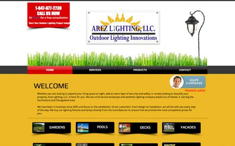 Screenshot of Home Page arezlightingllc.com - Arez Lighting LLC   Evanston Landscape Lighting - captured Sept. 30, 2014