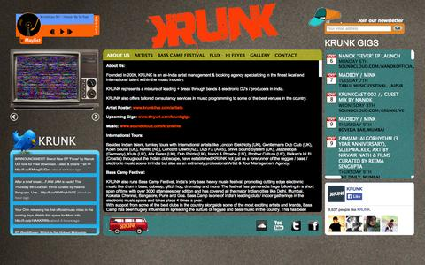 Screenshot of About Page krunklive.com - KRUNK: 		 About Us - captured Oct. 6, 2014