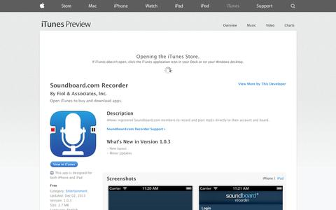 Screenshot of iOS App Page apple.com - Soundboard.com Recorder on the App Store on iTunes - captured Nov. 2, 2014