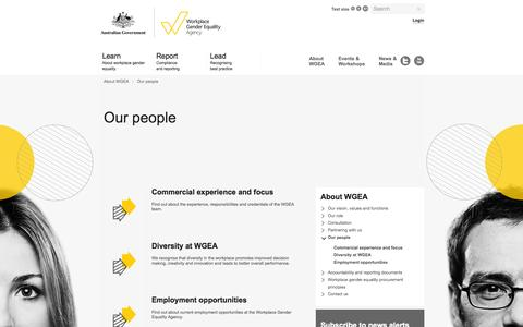 Screenshot of Team Page wgea.gov.au - Our people | The Workplace Gender Equality Agency - captured Oct. 7, 2014