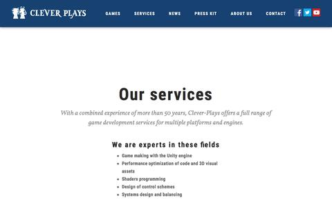 Screenshot of Services Page clever-plays.com - Services - Clever Plays - captured Aug. 4, 2017