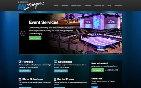 Screenshot of Home Page avimages.com - AV Images | audio + video production service for events and exhibit environments - captured Sept. 30, 2014