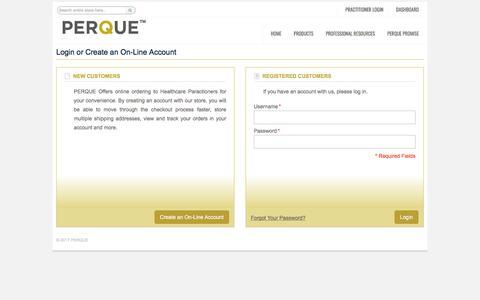 Screenshot of Login Page perque.com - Customer Login - captured Sept. 25, 2018