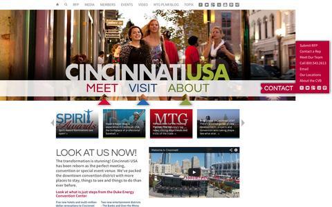 Screenshot of Home Page cincyusa.com - Cincinnati USA / Cincinnati Convention and Visitors Bureau / CincyUSA.com - captured Oct. 10, 2014