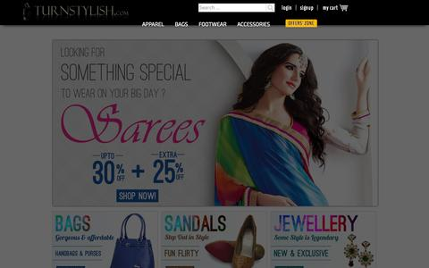Screenshot of Home Page turnstylish.com - Online Shopping for Women | Designer Wear Apparel, Footwear, Bags & Accessories | TurnStylish.com - captured Sept. 24, 2014