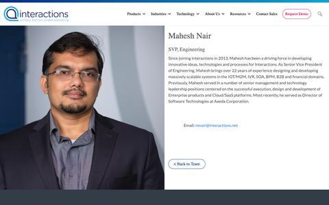 Screenshot of Team Page interactions.com - Mahesh Nair - Interactions - captured Feb. 8, 2019