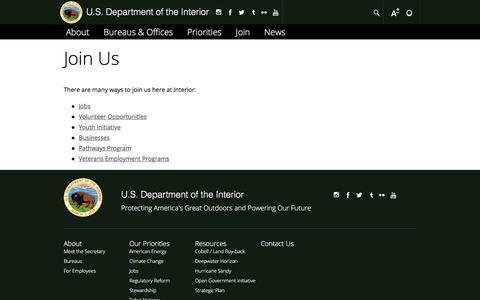Screenshot of Signup Page doi.gov - Join Us | U.S. Department of the Interior - captured Sept. 27, 2017