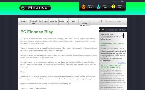Screenshot of Blog ecfinance.co.za - EC Finance - Contact Us - captured Dec. 5, 2015