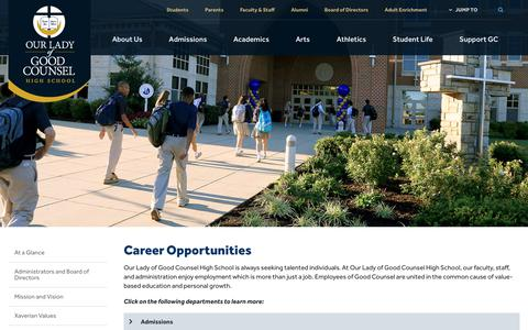 Screenshot of Jobs Page olgchs.org - Career Opportunities - Our Lady of Good Counsel High School - Olney, MD - captured Oct. 18, 2018