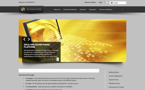 Screenshot of Home Page About Page Terms Page diamantaj.com - Diamantaj @ Diamonds Gold&Silver Online - captured Oct. 5, 2014