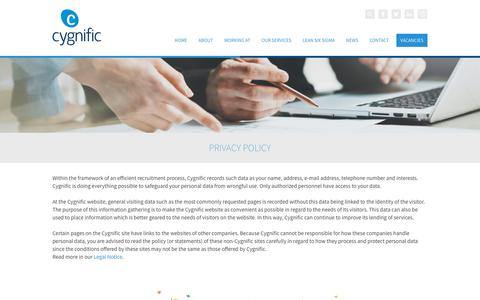 Screenshot of Privacy Page cygnific.com - Cygnific - Privacy Policy - captured July 22, 2018